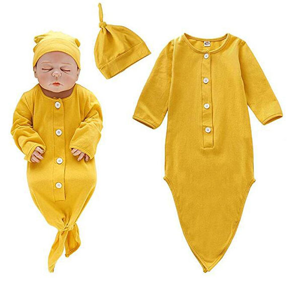 Infant Baby Tie Nigntgown And Matching Hat