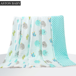 Double Layers Super Soft Fleece And Muslin Baby Blanket