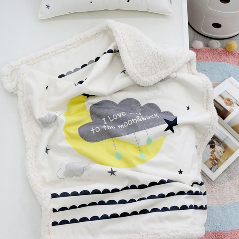 short plush and polyester sherpa compsite baby blanket